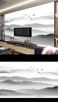 新中式水墨山水意境电视背景墙