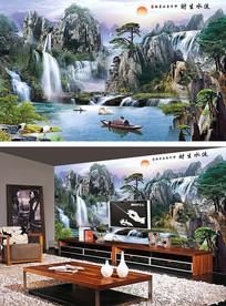 中式山水流水生财沙发背景墙