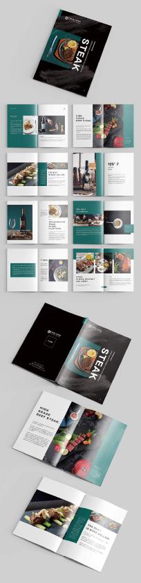 蓝绿色高档牛排美食企业画册