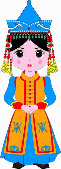 蒙古小女孩插画