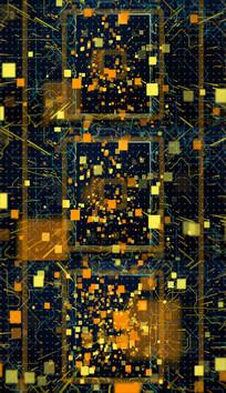 4K抽象金色粒子电路背景视频
