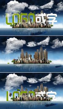 创意城市建筑标志升起片头模板