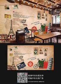 复古餐厅工装背景墙