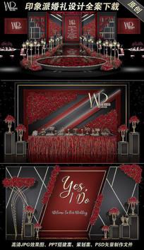 魅惑红黑现代简约创意婚礼