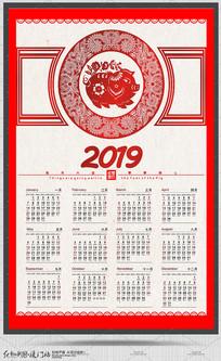 剪纸风2019猪年日历设计