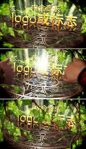 绿色自然3d标志片头ae模板