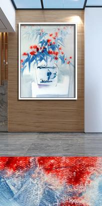 手绘水墨花瓶花卉装饰画