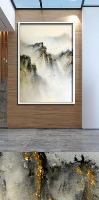 手绘新中式山水云雾飞鸟装饰画