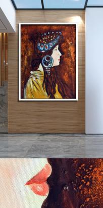 手绘艺术西方人士装饰画