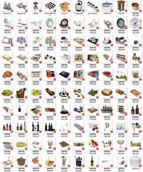 现代厨房酒柜餐具饰品su模型