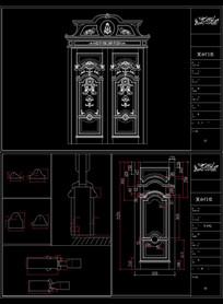 原创欧式室内原木门CAD图