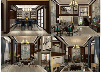中式调空别墅3D设计模型