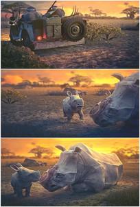 非洲大草原猎人打猎犀牛视频