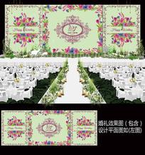 粉色花卉小清新婚礼舞台背景板