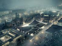 欧式商业区个性建筑 JPG