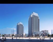商业广场建筑远景效果图 PSD