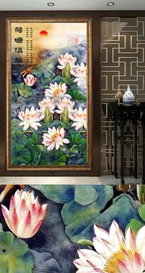 新中式荷花玄关装饰画