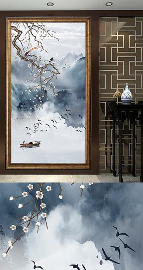 新中式山水水墨玄关装饰画