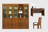 新中式实木中式书柜书桌椅组合