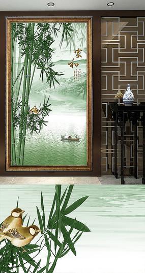 新中式竹叶青玄关装饰画