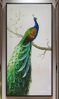 玉兰枝头孔雀巨幅玄关装饰油画