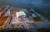 博物馆建筑鸟瞰模型