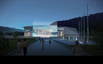 博物馆夜景建筑效果图 PSD