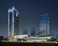 创意商业办公楼建筑效果图 PSD