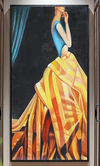 纯手绘优雅女人装饰玄关油画