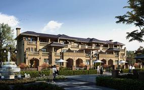 蓝屋顶欧式建筑透视六联排
