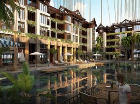 商业楼庭院水景建筑效果图