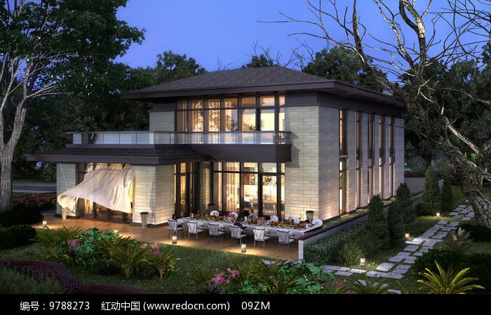 独栋别墅花园效果图图片
