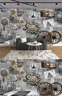 复古怀旧机械齿轮工业风餐厅 psd图片