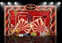红金复古婚礼百老汇舞台背景板