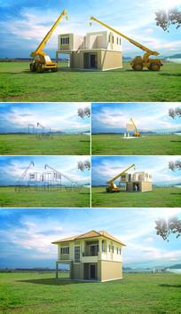 卡通房屋快速建造过程两款视频