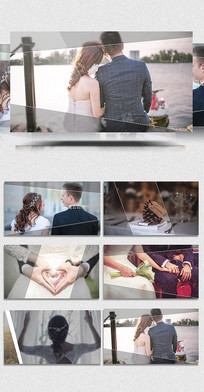 pr线条划屏婚礼展示视频