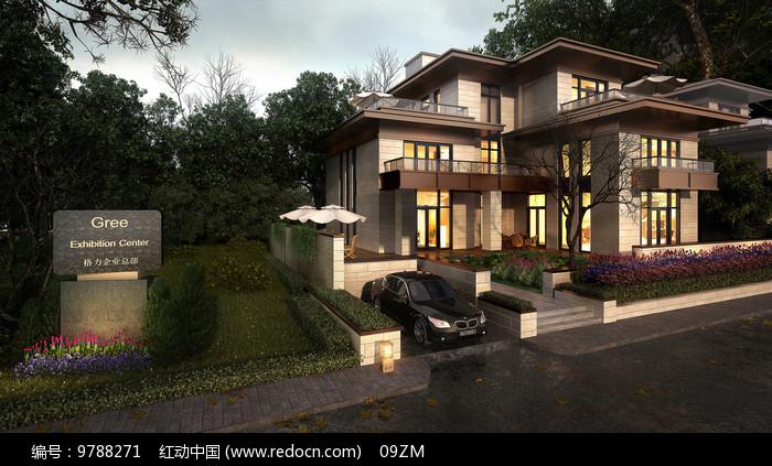 企业别墅建筑效果图图片