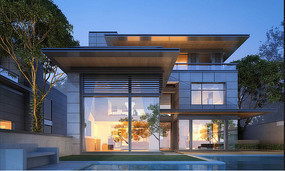 现代别墅建筑正立面