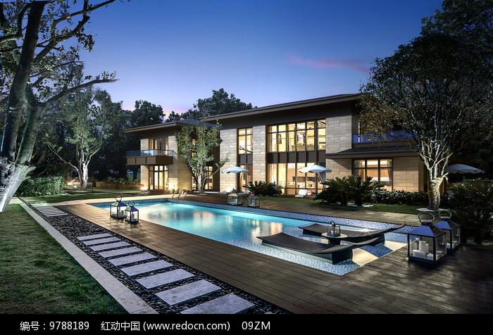 现代简约别墅泳池景观图片