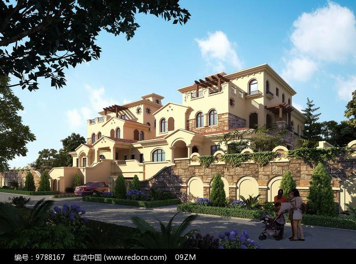 西班牙别墅建筑透视图片
