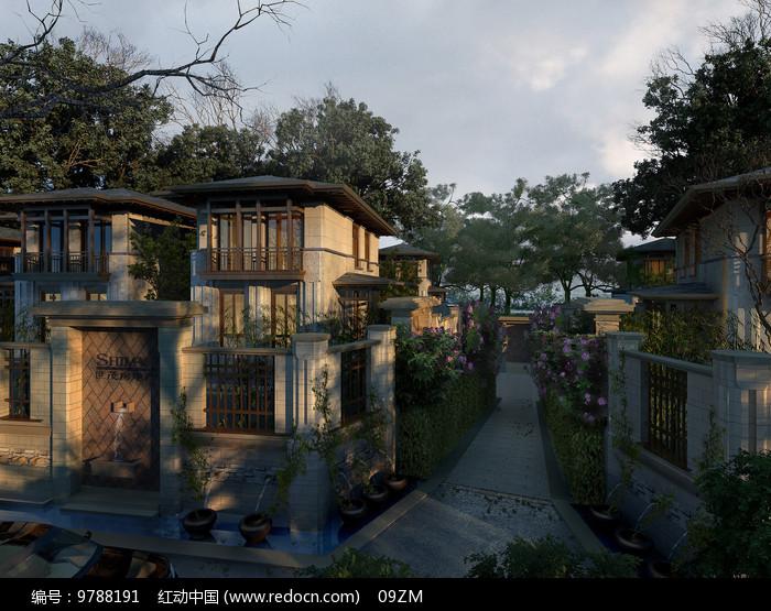 新中式别墅景观图片