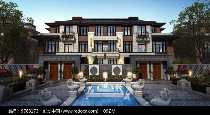 新中式别墅景观正立面图片