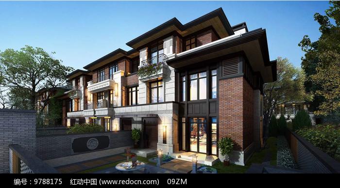 新中式别墅庭院透视图图片