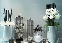 新中式花艺鸟笼插花艺术组合