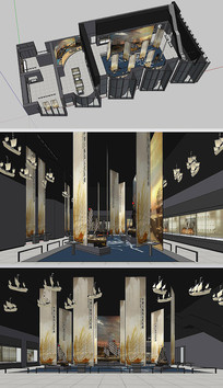 展厅设计丝绸之路草图SU模型