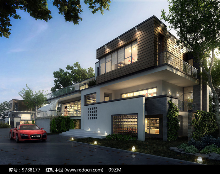 中式别墅建筑效果图图片