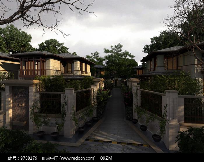 中式别墅区黄昏景象图片