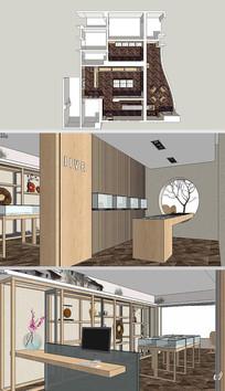 中式珠宝展厅草图大师SU模型