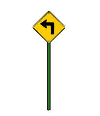 左转标识牌
