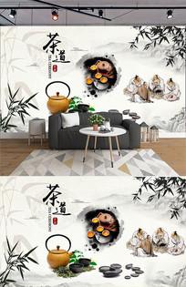 茶道水墨中式竹子背景墙